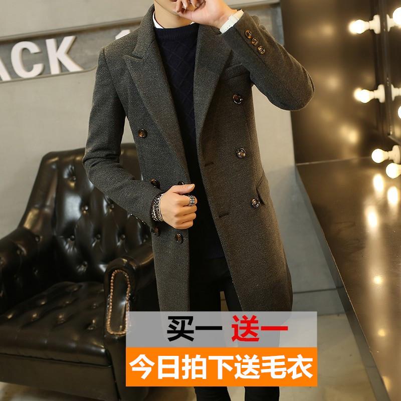 秋冬季男士中长款风衣青年韩版修身毛呢外套男休闲呢子大衣潮男装
