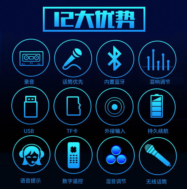 歌户外移动音箱带无线话筒 K 长虹广场舞音响播放器便携式拉杆蓝牙
