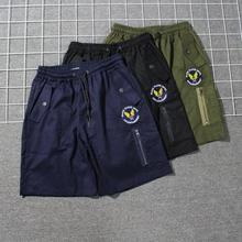 原创街头潮牌欧美西海岸美式军事风徽章休闲短裤 男士刺绣工装裤
