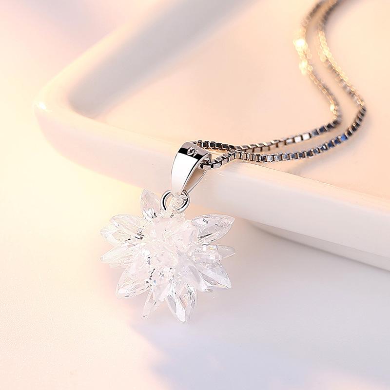 新款立体水晶雪花镀银饰品项链吊坠女银冰花锆石吊坠工厂代发批发