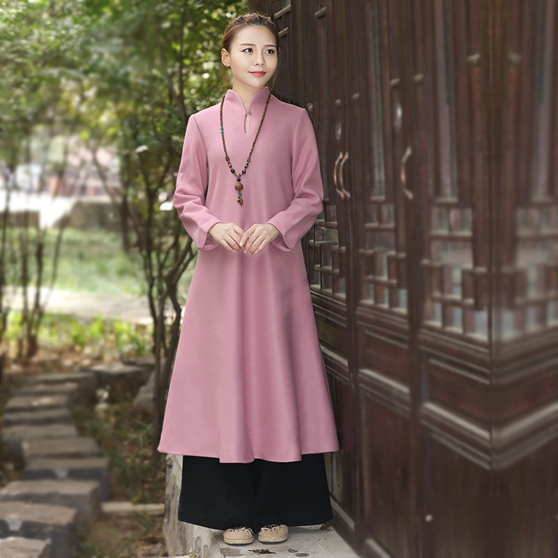 冬季长袖毛呢连衣裙长款中国风秋冬复古女装茶服加厚长裙呢子外套