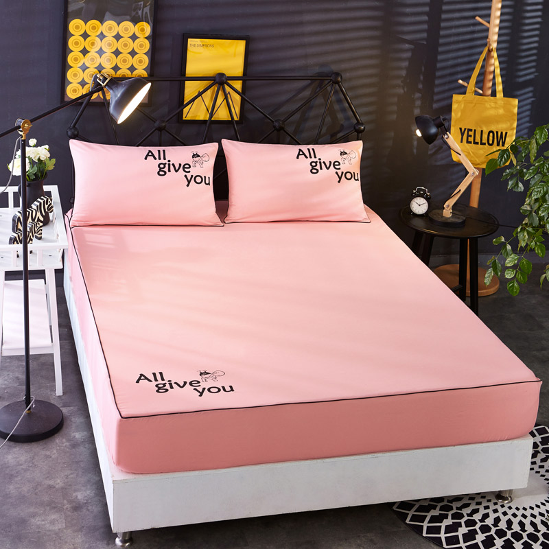 席梦思护套床棕垫 夏季床垫床笠单件纯棉床罩防滑纯色