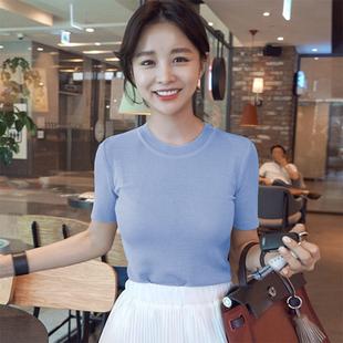 新款韩版修身针织短袖女夏冰丝打底衫薄款圆领纯色t恤女套头上衣
