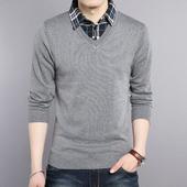 青年男士假两件长袖T恤大码翻领男装休闲毛衣男针织打底衫上衣潮
