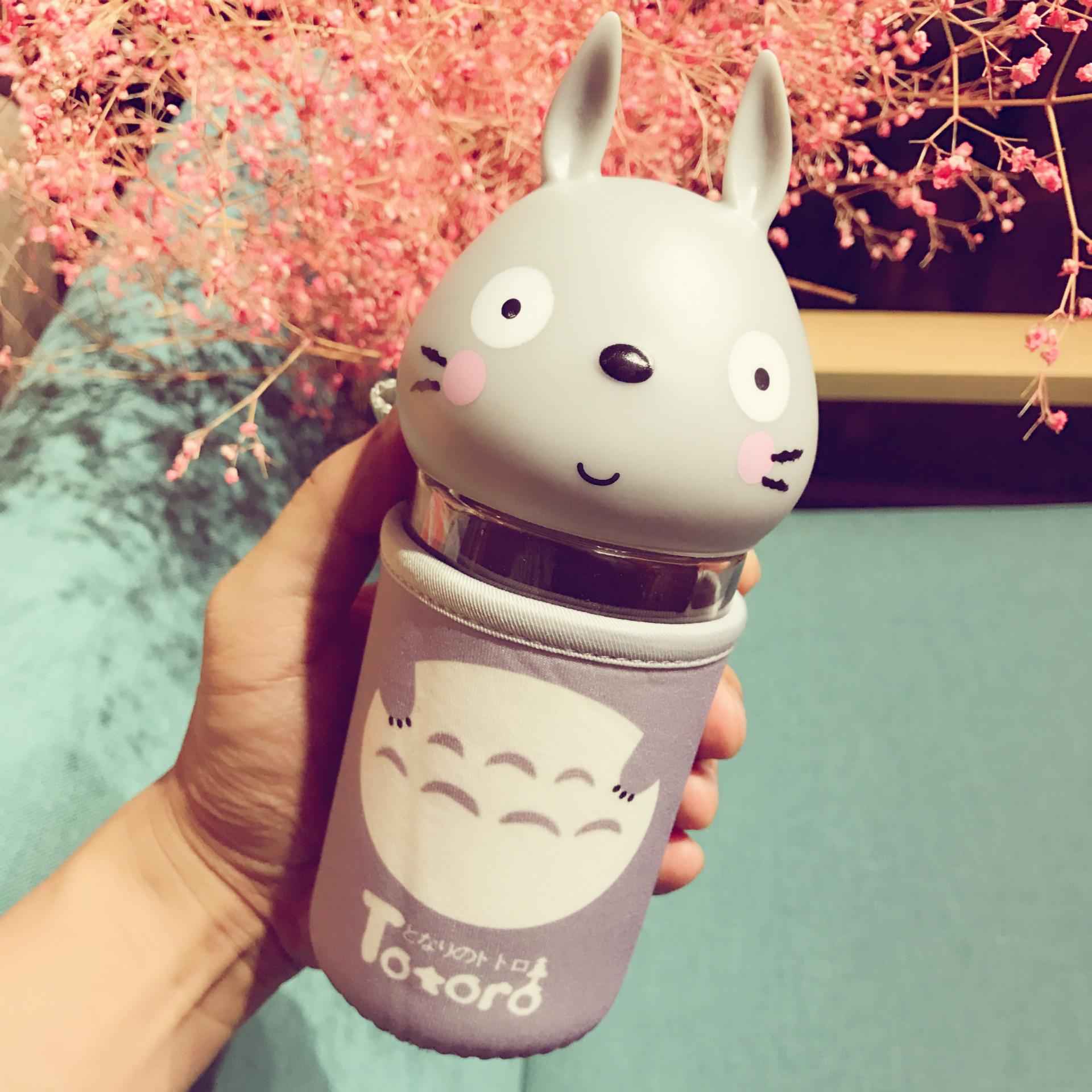 韩版卡通龙猫玻璃杯儿童牛奶水杯学生可爱萌杯子创意便携带盖耐热