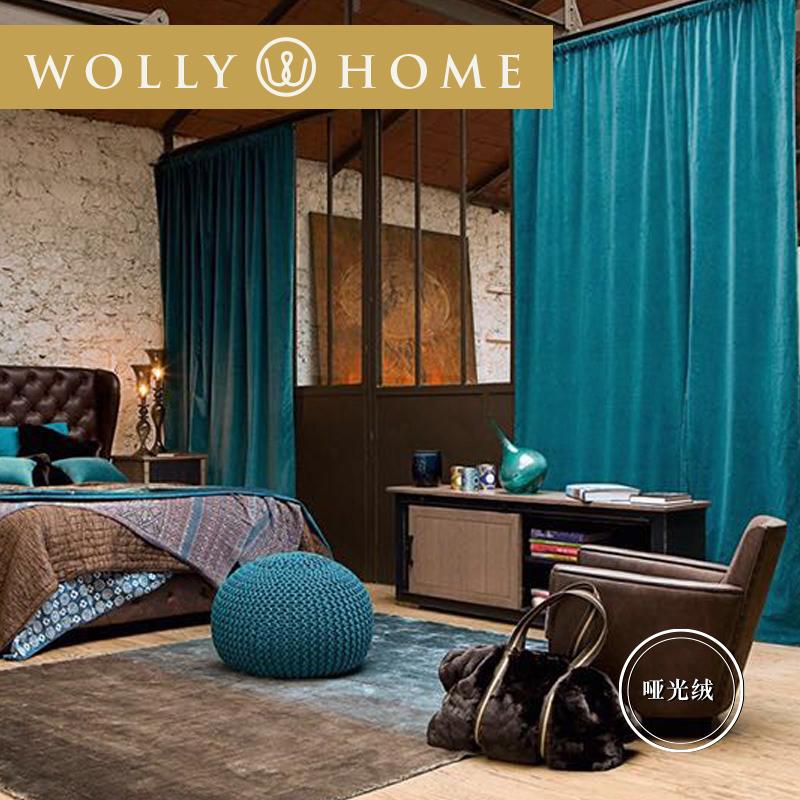遮光丝绒后现代欧式美式新中式孔雀蓝蓝色绿色卧室客厅窗帘定制图片