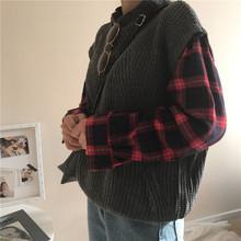 韩国ulzzang原宿风bf秋装韩版宽松复古格子假两件高领套头毛衣女