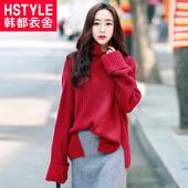 韩都衣舍2017韩版女装秋装新款中长款宽松纯色针织衫毛衣PC7670晽