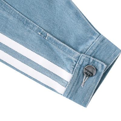 韩都衣舍2016韩版女秋装新款印花贴布宽松长袖牛仔短外套DQ6125溯