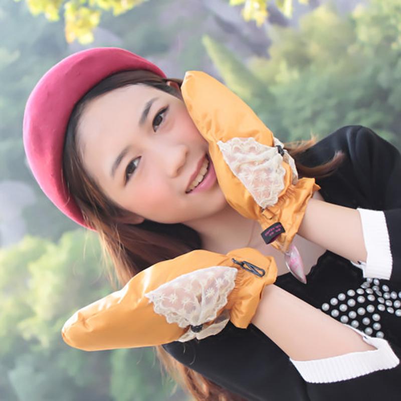 纯羽绒手套女冬可爱学生包指冬季骑车连指加绒加厚保暖女士棉手套