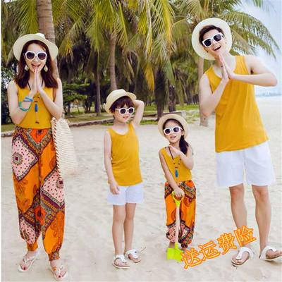 亲子装夏装2017新款三口沙滩时尚海边度假出游母女背心套装全家装