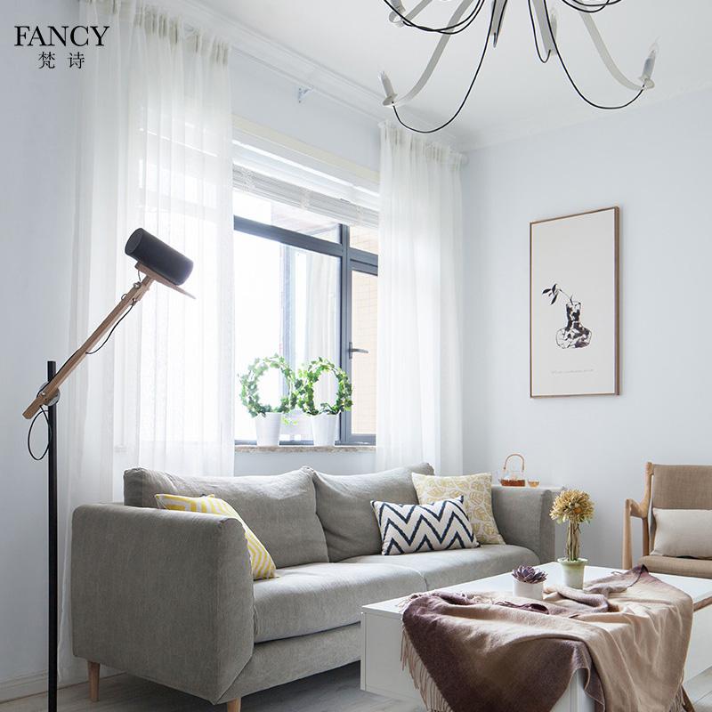 简约现代北欧卧室客厅阳台飘窗落地窗帘百搭纯色白色