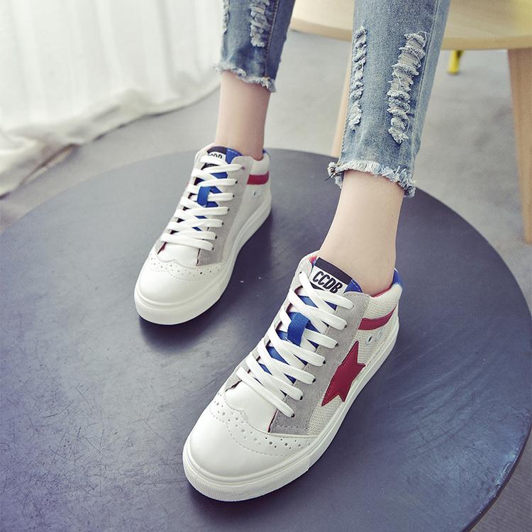 刘诗诗同款拼色五角星系带休闲鞋低帮学生板鞋透气运动鞋女单鞋