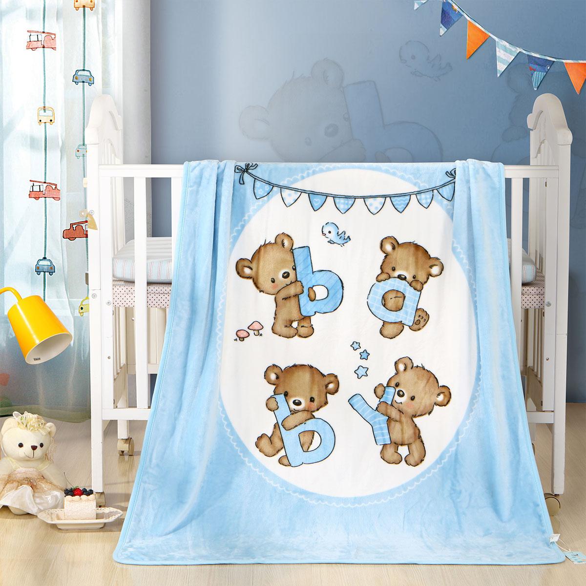 婴儿毛毯双层加厚秋冬季新生儿童法兰绒幼儿园春秋小毯子宝宝盖毯