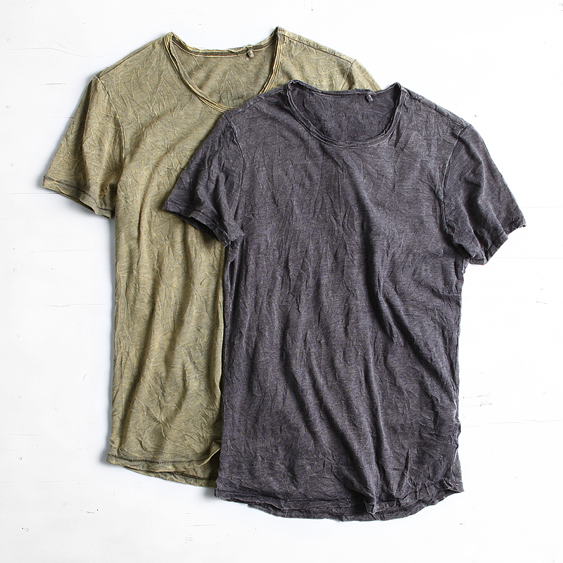 清仓不退换 男装夏季新款复古做旧石磨扎染圆领修身短袖T恤衫潮