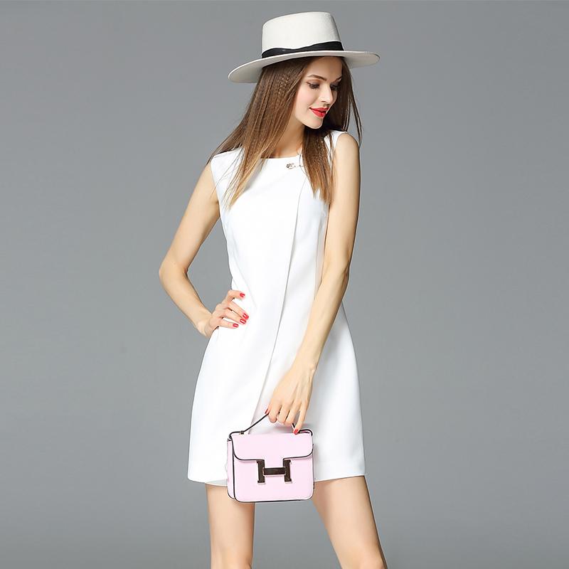 新款欧美纯白色连衣裙夏修身显瘦大别针名媛短裙都市白领女装礼服