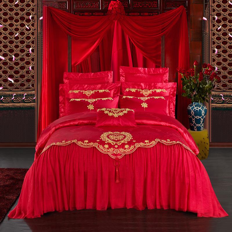 婚庆四件套大红色欧式雷丝结婚床单被套新婚床上用品四六十多件套