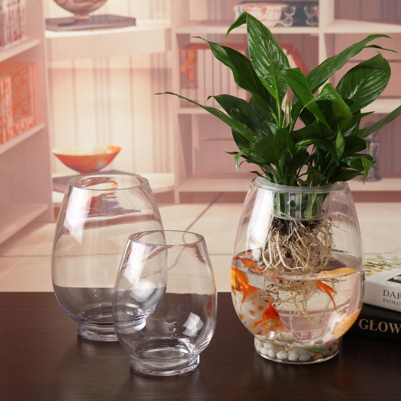 圆形水培花器插花绿萝花盆鱼缸创意简约欧式摆件