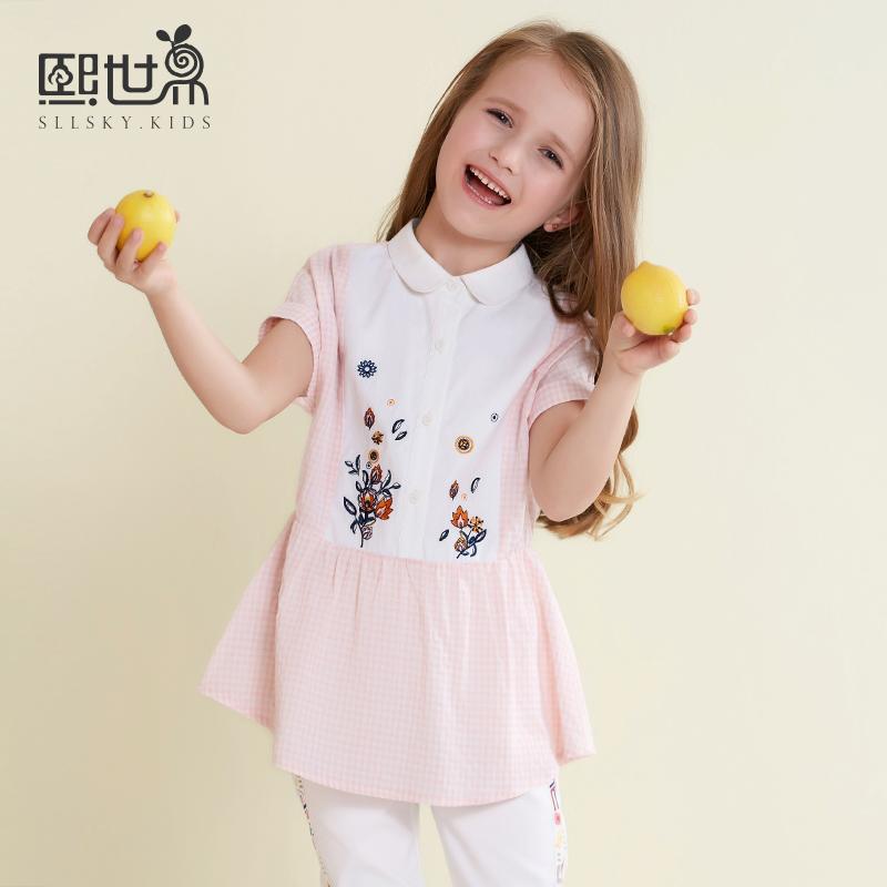 格子夏装衬衫衬衣世界短袖女童儿童娃娃童装