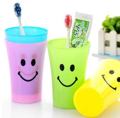 大嘴笑脸漱口杯 情侣洗漱杯 糖果色牙刷杯 塑料时尚水杯