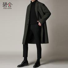 碧舍2017秋冬季韩版双面羊毛大衣男士中长款宽松毛呢外套呢大衣潮