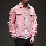 且沫男士短款牛仔外套男装新款韩版潮流破洞复古短款休闲夹克粉色