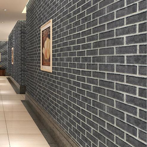 中式砖块壁纸 3d仿古砖纹墙纸复古青砖文化石壁纸红砖酒吧服装店图片