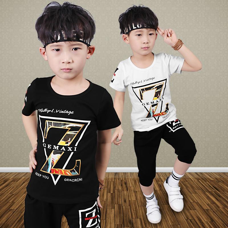 兒童套裝兩件套韓國男童休閑小學生運動夏裝童裝短袖
