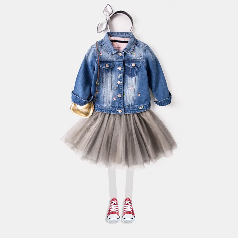 上衣宝宝刺绣纯棉 春秋外套牛仔女童 纯色儿童童装
