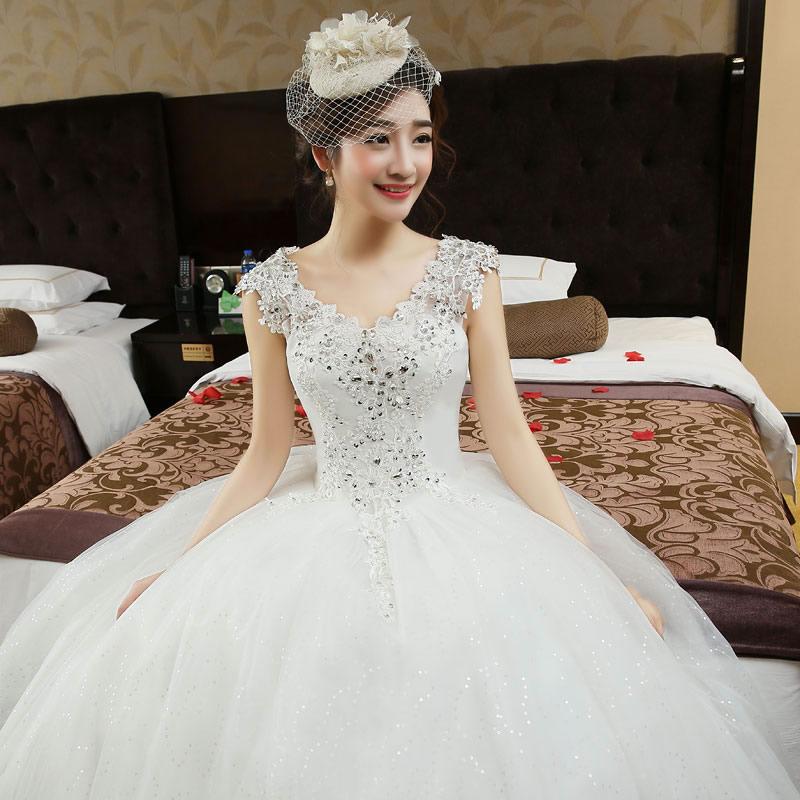 白纱双肩婚纱2017新款新娘结婚酒店婚礼齐地婚纱礼服显瘦大码女装