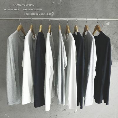 纯色T恤男长袖纯棉打底衫韩版修身圆领体恤衫青少年学生秋季衣服
