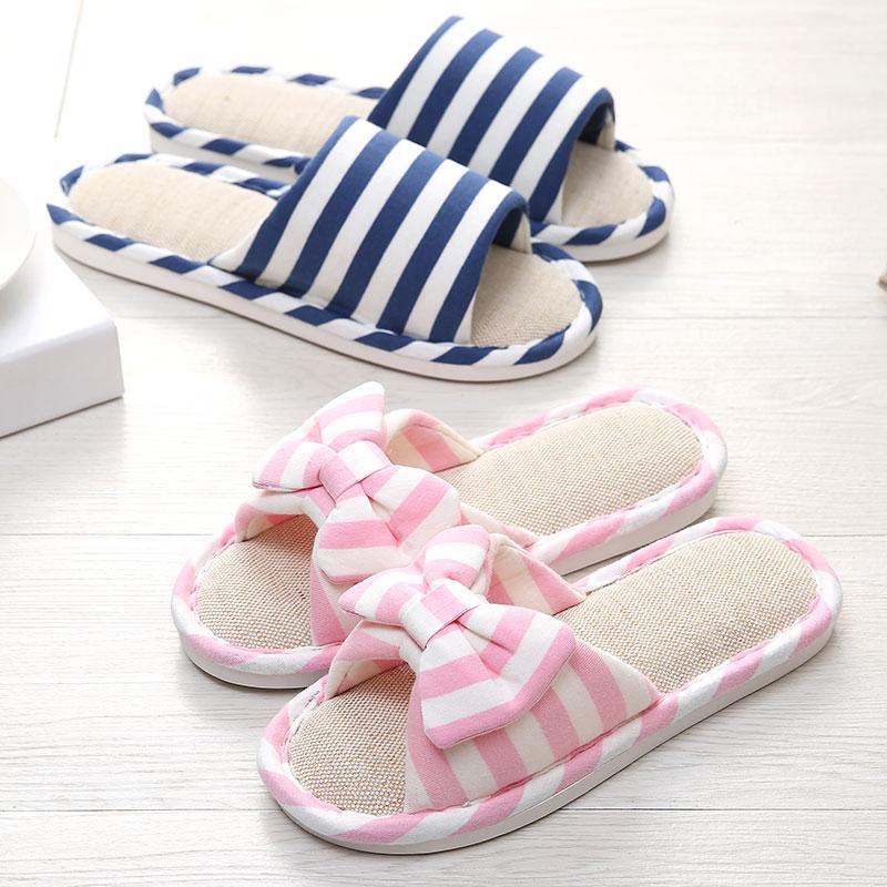 室内 时尚拖鞋亚麻 软厚底平用棉麻拖舒适可爱居家防滑