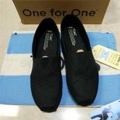 TOMS经典帆布条纹图案休闲男鞋;一脚蹬鞋 ;@
