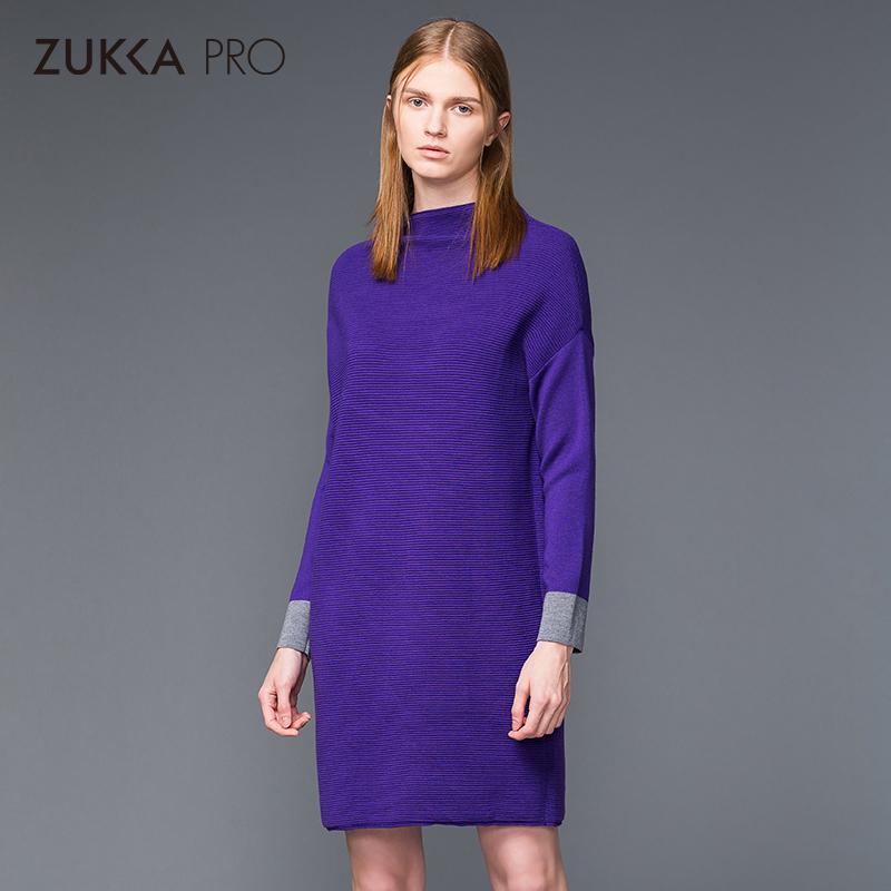ZUKKA PRO卓卡女装半高领套头针织羊毛衫拼色连衣裙秋冬新品