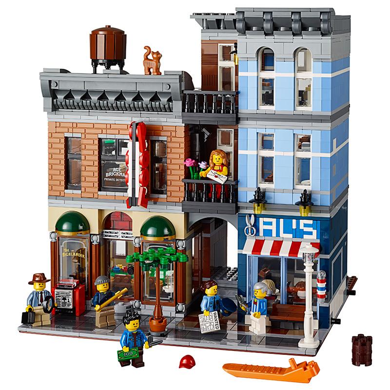 乐拼正品创意街景系列侦探事务所复刻益智拼装积木玩具15011