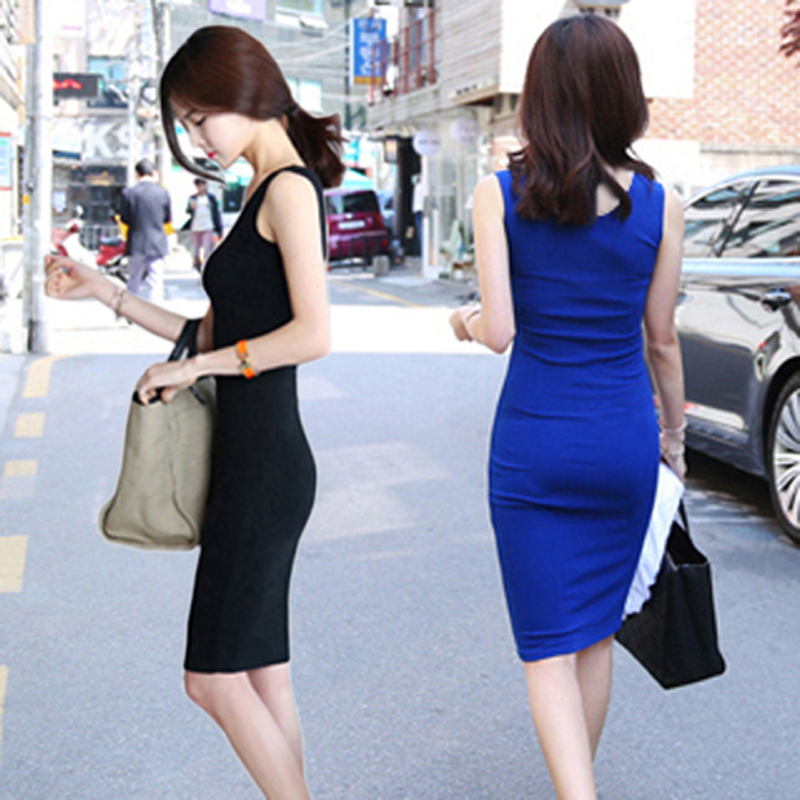 裙女夏包臀純棉打底連衣裙長款無袖黑色修身背心吊帶襯裙