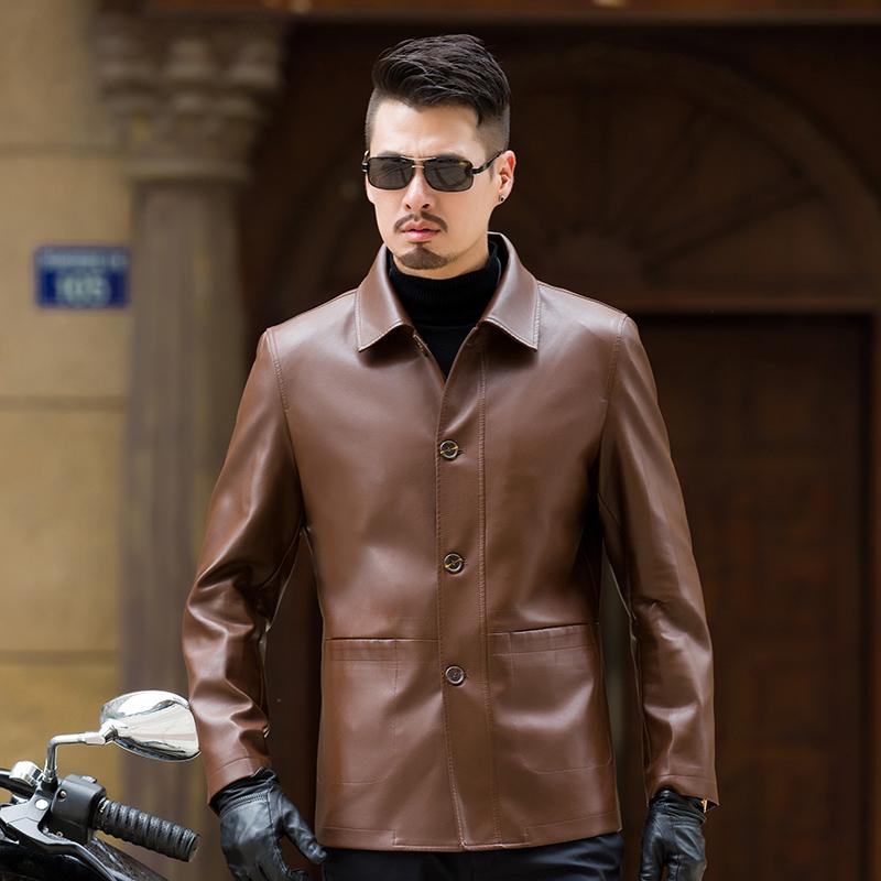 绵羊皮皮衣夹克男士春秋新品中老年薄款翻领商务休闲外套反季处理