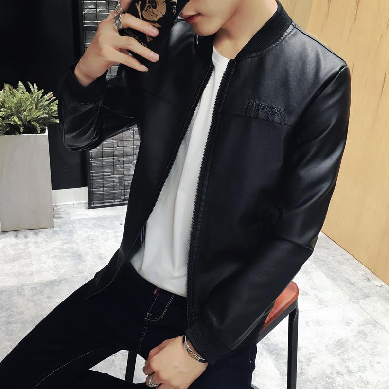 2016新款秋季青年夹克男外套修身韩版男装立领机车PU皮衣薄款外穿