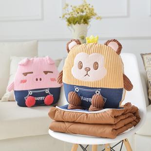 多用抱枕被子两用个性可爱靠垫被子情侣多功能全棉韩国空调被3合1
