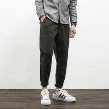 春季新款潮男太空棉休闲长裤日系青年学生宽松黑色哈伦直筒小脚裤