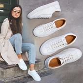 女鞋平底小白鞋女系带韩版真皮休闲鞋运动鞋板鞋情侣圆头浅口单鞋