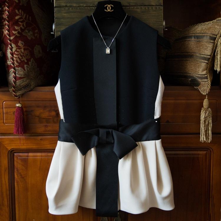 【天天特价】浪漫 超显瘦高品质大蝴蝶结雅致减龄裙摆马甲外套女