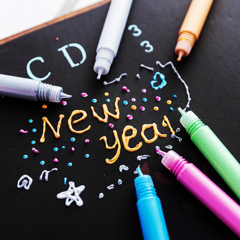 神奇泡泡笔泡沫画笔6色创意DIY贺卡立体果冻笔可爱水晶笔手账周边