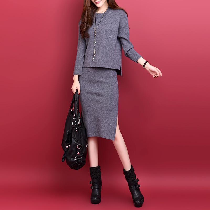 新款奢华高档女装上衣+纯开叉包臀裙时尚两件套套装女图片