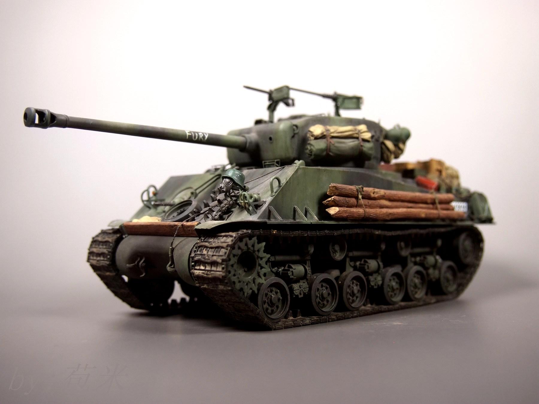 田宫模型 25175 1/35m4a3e8狂怒谢尔曼坦克