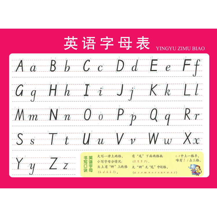 26個英文字母表寫法海報 英語國際音標分類表掛圖元音圖片