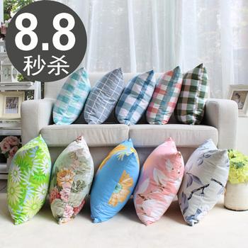 简约现代抱枕美式棉麻沙发靠垫办公室座椅腰靠床头靠枕含芯定制