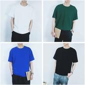 原创新款青年男士宽松休闲短袖T恤夏 男生韩版纯色纯棉半袖男体恤