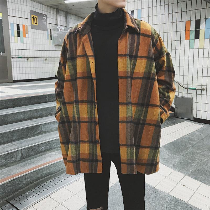 毛呢料外套复古街头帅气男士磨毛长袖衬衫