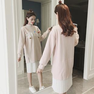 2017春装新款甜美小清新长袖中长款蕾丝拼接呢子假两件宽松连衣裙